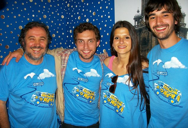 O director Ignacio Vilar e os actores Rub�n Ri�s, Sabela Ar�n e Xoel Y��ez - FOTO: RO