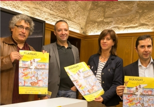 Jorge Rey, Jos� V�ctor Carou, Mar�a Ant�n e Jacobo Sutil durante a presentaci�n de Galicreques - FOTO: Concello de Santiago