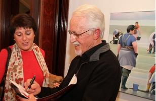 El pintor Jos� Ram�n en la inauguraci�n de 'La alegr�a del color' en la Casa de Galicia en Madrid - FOTO: Xunta de Galicia