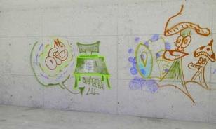 Una de las pintadas del cementerio de Teo - FOTO: cg