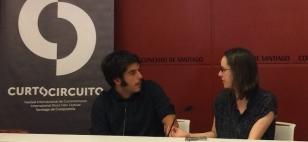 Pela del �lamo, director de Curtocircuito, e a concelleira Branca Novoneyra - FOTO: Concello de Santiago