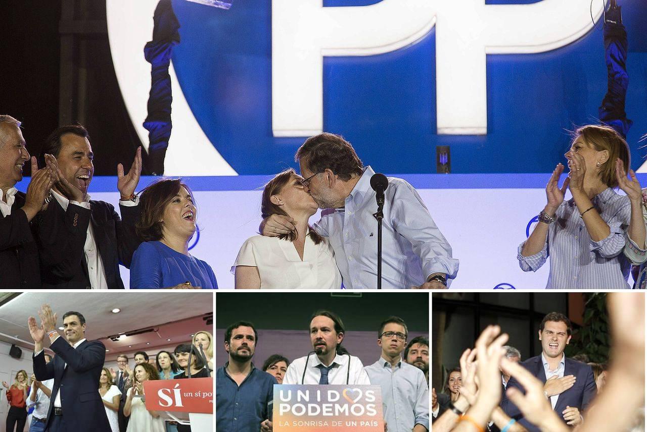 Arriba, Mariano Rajoy besando a su esposa en el balc�n de la sede del PP acompa�ados de otros dirigentes populares. Abajo, de izquierda a derecha, Pedro S�nchez saludando, Iglesias y otros l�deres de Unidos Podemos con caras de circunstancias y Rivera animando a los suyos - FOTO: Efe