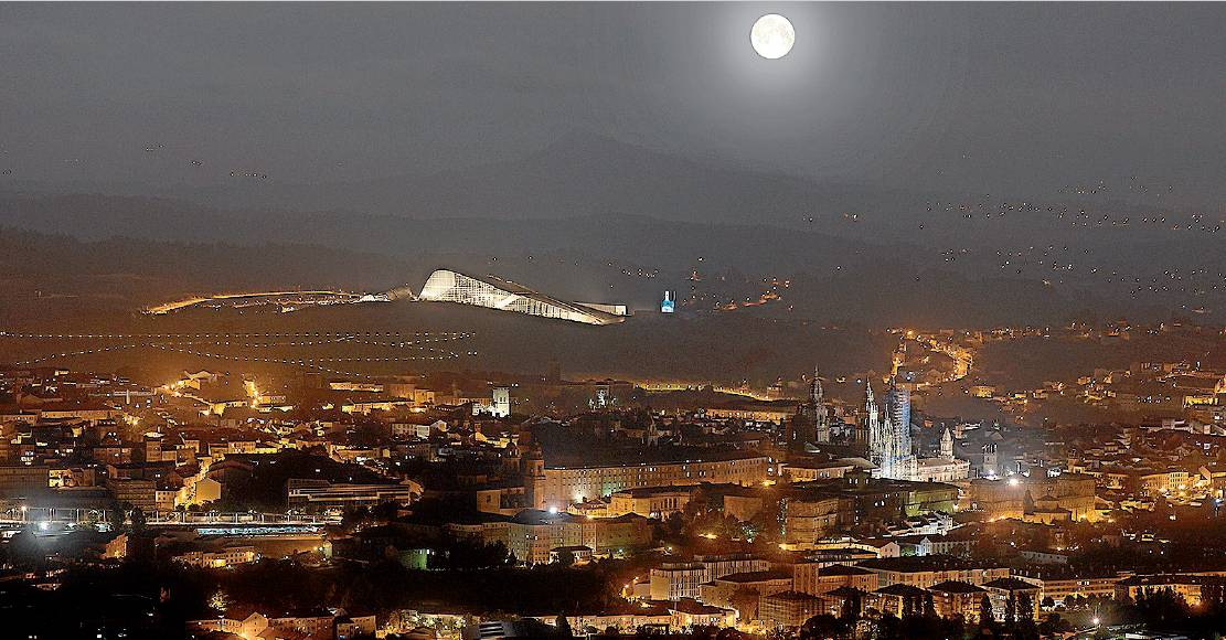 Panor�mica noctura espectacular de Santiago, con la Cidade da Cultura al fondo --